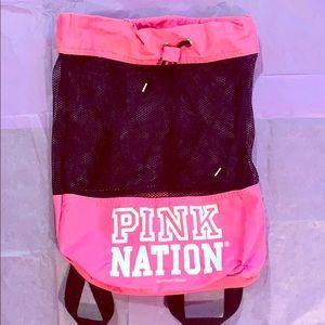 Victoria's Secret PINK pink nation drawstring bag